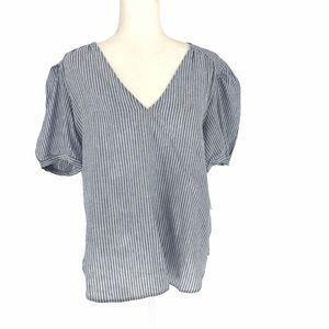Blue Stripe Puffy Sleeves Blouse L